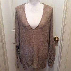 Free People Sweater L Taupe V-Neck Hi-Lo Hem